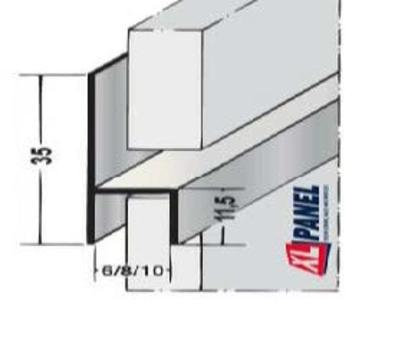 XL-Panel Stuhlformprofil A 6x3055mm Rockpanel glatt anodisiert Aluminium