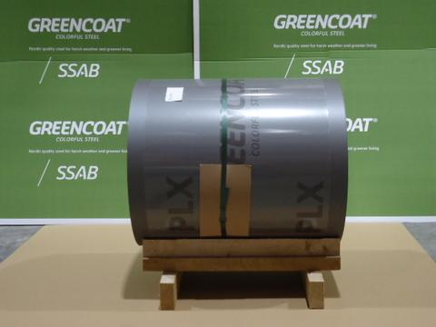 SSAB Swedish Steel Band 650x0,6 mm 044 Falzstahl Coil 40 m2 Prelaq PLX teilfoliert RAL 9007 Graualu
