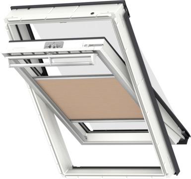 VELUX Plissee FOP MK12 78x180 cm 1049S Premium Vorteils-Set universal Goldbeigeschwarz