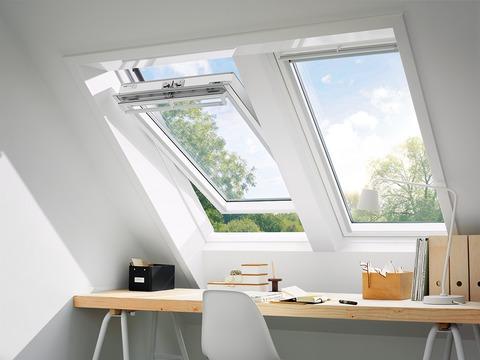 VELUX Schwing-Fenster Holz GGL MK12 2166 78x180 cm weiß lackiert Energy Plus Kupfer