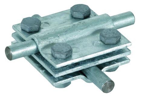 Dehn&Söhne Blitzschutz Kreuzstück 60x60 mm 319201 mit Zwischenplatte Feuerverzinkt