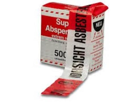 Hauser Absperrband-Eskorte 500 m 8 cm, Asbestfasern weiß/rot/schwarz