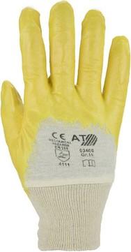 Hauser Handschuh NI-Tech-Nitril 10 Strickbund Handrücken, teilbeschichtet EN 388 Gelb