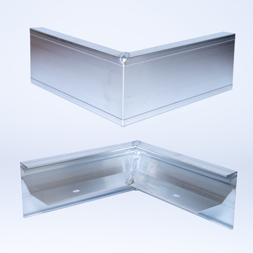 ALURAL Dachrand NB 100 Außenecke 90 Grad, 250x250 mm Aluminium