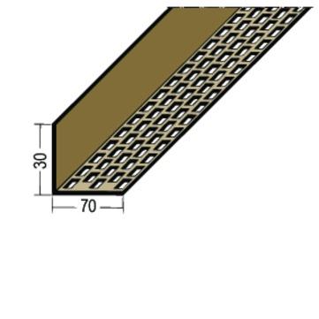 PROTEKTORWERK Lüftungswinkel 3613 30x70 mm PVC 2,5 m einseitige Rechtecklochung Schwarz
