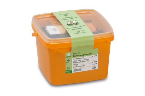 HECO eco-terrassenset 80 Mittel stücke und Schrauben in Kunststoffbox