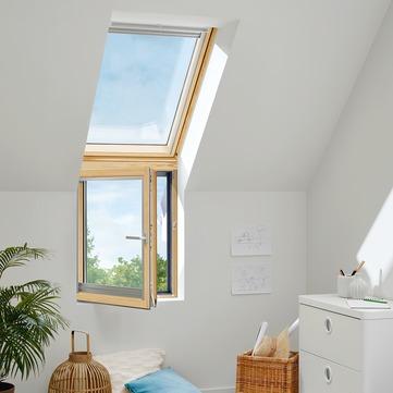 VELUX VFB SK35 3066 114x95 cm rechts Kiefer enlackiert Energy Plus Fassade Aluminium