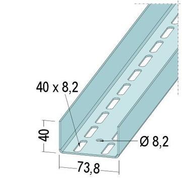 PROTEKTORWERK Profil UA 40x73,8x40mm/260 mm 2,60 m Aussteifung für Türzargen Verzinkt