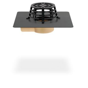 SITA Compact Gully abgewinkelt 70 mm PUR wärmegedämmt mit Kiesfang Bitumen-Anschlussmanschette