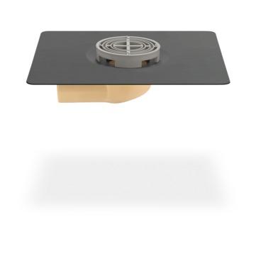 SITA Mini Balkongully abgewinkelt 70 mm wärmegedämmt mit Rundsieb Bitumen