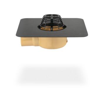SITA Gully abgewinkelt 100 mm PUR wärmegedämmt mit Kiesfang Bitumen-Anschlussmanschette