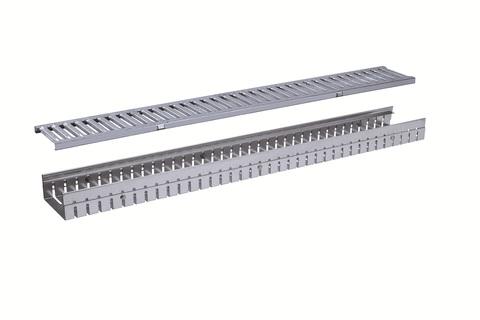 HDI-Bolte Entwässerungsrinne 130x1000 mm höhenverstellbar 55-70 mm mit Stegrost Verzinkt