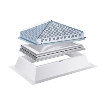 ESSMANN HDS Schutzsystem für Lichtkuppel 150x150 inklusive Baustellenmontage pyramidenförmig