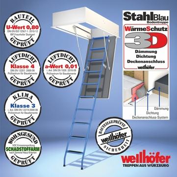 Wellhöfer Bodentreppe WS3D 260-272cm lichte Raumhöhe Deckenöffnung 120x70cm StahlBlau