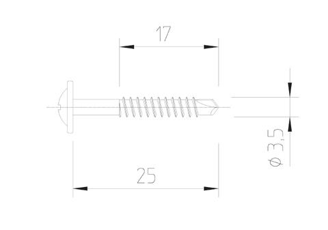 Vinylit Bohrschraube 3,5x25/17 mm V2A 500 Stück Blank