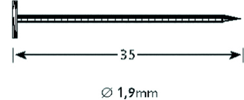Vinylit Rillennagel 1,9x 35 mm V2A 500 Stück mit Flachrundkopf Grau