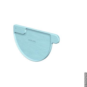 RHEINZINK 6-teilige Rinnenboden halbrund links Kleben/Löten Titanzink prePATINA blaugrau