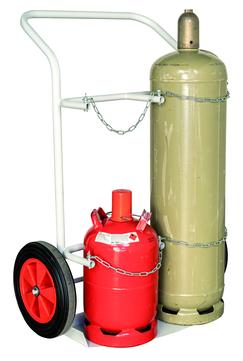 Dachdecker-Einkauf Ost Transportkarre für 2 Gasflasche Tragkraft 250 kg, Räder 400x80 mm RAL 7035 Lichtgrau