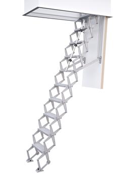 Columbus Scherentreppe Exklusiv 2,79 m 120x60 cm Alu, Standard Stufentiefe 14 cm, 10 Stufen Holz