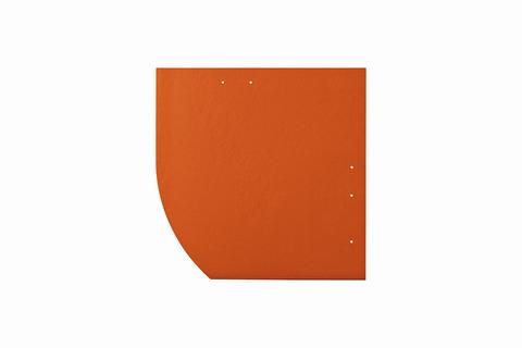 Eternit Dachplatte 30x30cm Deutsche Deckung Bogen links 5-11 glatt NC Quadrat mit Bogenschnitt links Klassikrot