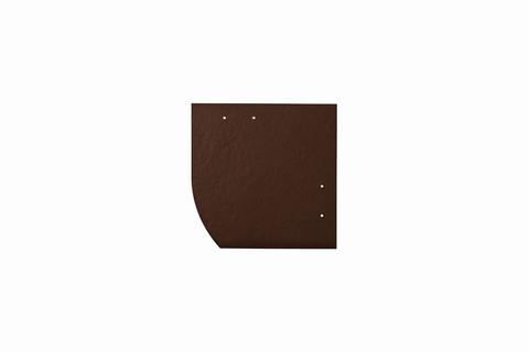 Eternit Dachplatte 20x20cm Deutsche Deckung Bogen links 4 Kleinpaket glatt NC Quadrat mit Bogenschnitt links Dunkelbraun