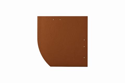 Eternit Dachplatte 30x30cm Deutsche Deckung Bogen links 5-11 glatt NC Quadrat mit Bogenschnitt links Ziegelrot