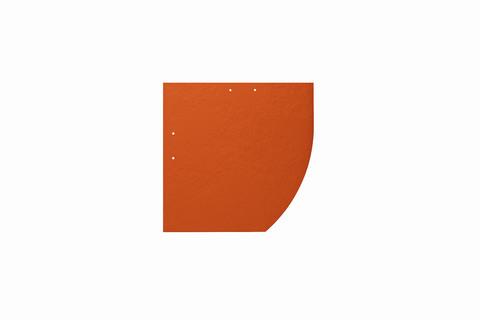Eternit Dachplatte 25x25cm Deutsche Deckung Bogen rechts 5-10 glatt NC Quadrat mit Bogenschnitt rechts Klassikrot