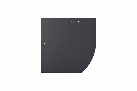 Eternit Dachplatte 30x30cm Deutsche Deckung Bogen rechts 5-11 glatt NC Quadrat mit Bogenschnitt rechts Blauschwarz