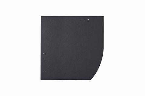 Eternit Dachplatte 40x40cm Deutsche Deckung Bogen rechts 6-12 glatt NC Quadrat mit Bogenschnitt rechts Blauschwarz