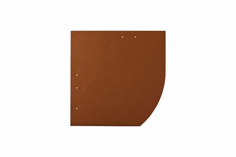 Eternit Dachplatte 30x30cm Deutsche Deckung Bogen rechts 5-11 glatt NC Quadrat mit Bogenschnitt rechts Ziegelrot