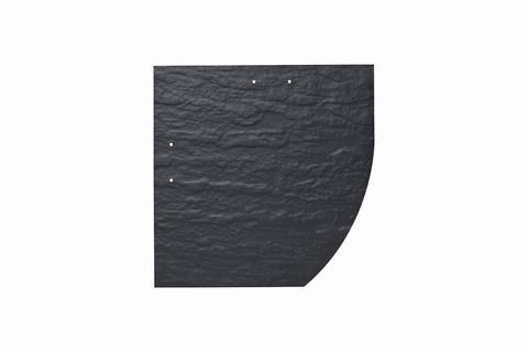 Eternit Dachplatte 25x25cm Deutsche Deckung Bogen rechts 5-10 Struktur NC Quadrat mit Bogenschnitt rechts Blauschwarz